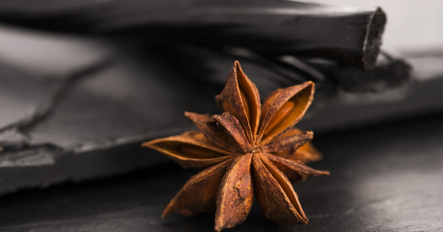 Licorice candy with star anise